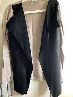 Zara Beige Leatherette & Cotton Cardigan