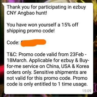 Ezbuy 15% off shipping code