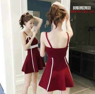 Korean Sexy Knitted Dress (Red)