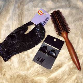 Hair Tools Set: Wooden Roller, Hair Dress, Hair Clips