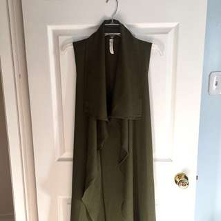 M by Mendocino - Olive Long Draping Vest Cardigan