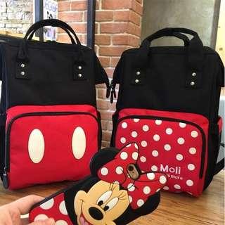 PO Mickey and Minnie Inspired Design Mummies Bagpack