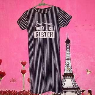 Mini Dress Strip Black&White
