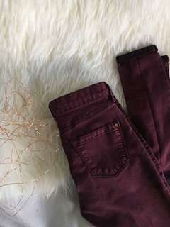MAROON SKINNY MID RISE TOPSHOP LEIGH JEANS 🔮