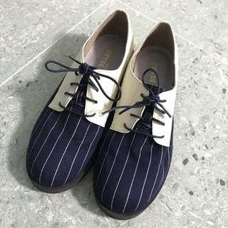 Jelly Beans 深藍拼白 條紋 間條 紳士鞋 牛津鞋 綁帶鞋 平底鞋