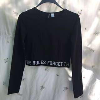 H&M black long sleeve crop top