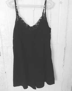 Black romper with lace details