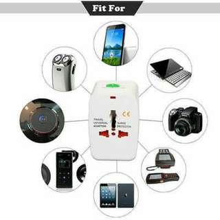 Universal International World Wide Multi Travel Plug Charger Adapter 2USB PORT.