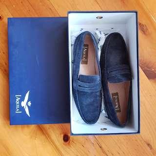 Aquila Navy Suede Men's Loafers