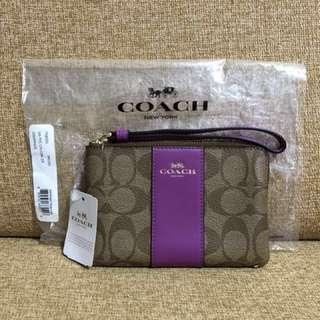 *New* Coach Wristlet - Signature coated canvas with leather stripe (Khaki Hyacinth) #Huat50Sale
