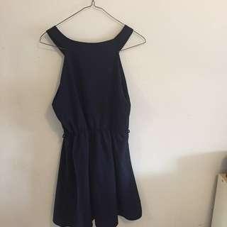 Navy blue chiffon dress