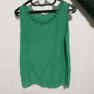 Vintage green turqoise tosca sleeveless blouse
