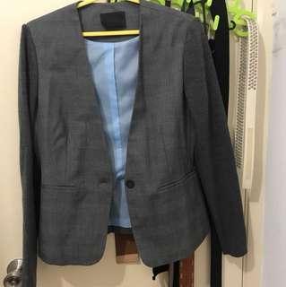 Giordano Ladies 灰色格千鳥格拼針織袖外套