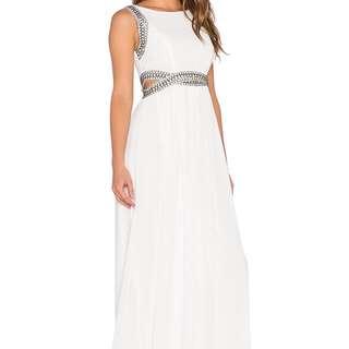 REVOLVE TFNC London Malaga Chiffon Embellished Cutout Evening Gown