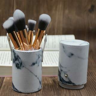10pcs pro marble Makeup Brushes set,  Marbling Handle Eye Shadow Eyebrow Lip Eye Make Up Brush Comestic Tools with holder
