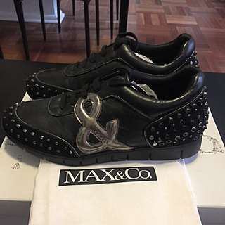 Women's Max&Co Black Leather Sneakers 37