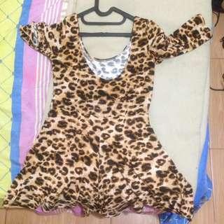 Dress celana leopard