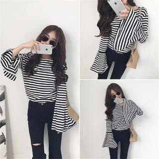[CMT] 049 Long Loose Stripe Sleeve Top
