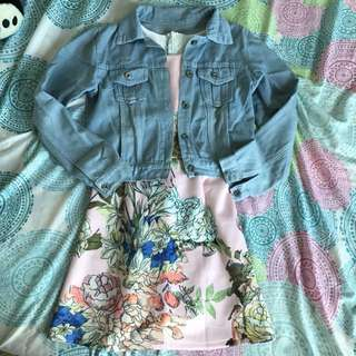 Bundle Floral Dress with Denim Jacket 🌸