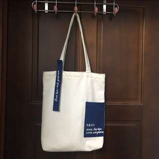 韓版飄帶字母新款帆布包