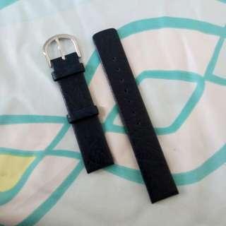 16mm黑藍真皮錶帶