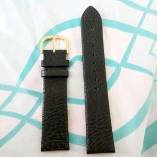 20mm深綠黑色真皮錶帶