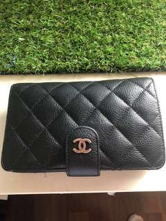Chanel quilting pocket wallet caviar skin black medium