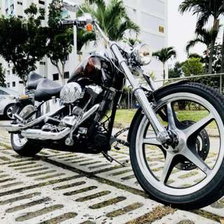 Harley Davidson Softail Custom with unique 666 plate