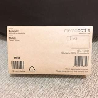 Genuine Memobottle A6 size flat water bottle