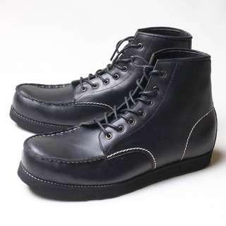 Sepatu Boots Pria Kulit Asli Boston Wayne Hitam