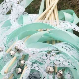 Wedding wands - Tiffany Blue ribbon with lace (40 pieces)