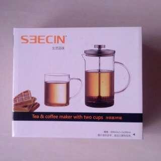 沖茶或法式咖啡Tea & French Press Coffee maker with 2 cups