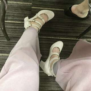 Gracegift 36近全新復古綁帶圓頭跟鞋🔥