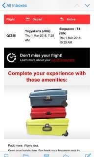 Flight from Yogya to Singapore