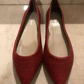 PRELOVED: Girl Friend Red Flat Shoes