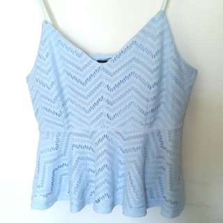 Baby blue detailed baby doll top