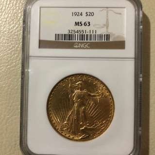 1924 St Gaudens Gold Double Eagle MS63