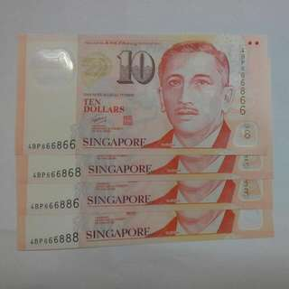 Singapore $10 4 Pc Fancy Numbers & Almost Solid Notes Unc Set
