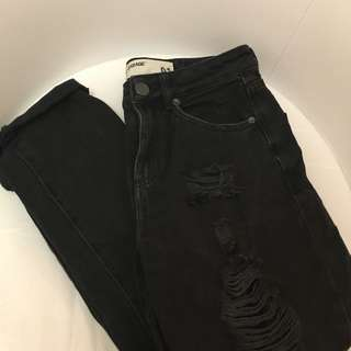 GARAGE Ripped Black Mom Jeans