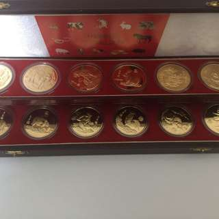 China lunar zodiac coin set (12pcs) with beautiful wooden box Year 1997 sale 30%