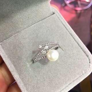 天然珍珠纯银戒指