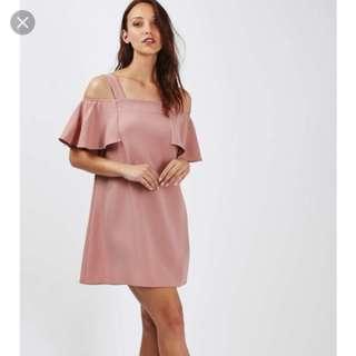 Topshop cold shoulder dress pink