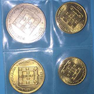 Macau Auspicious coin set (4pcs) 1982 & 1988 sale 30%