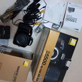 Nikon D5500 +50mm f1.8+ memory 16gb And box All accessories