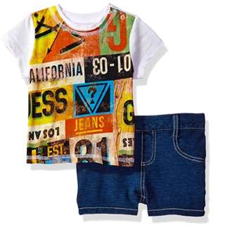 BN Guess Baby Graphic Tee and Denim Shorts -12mths