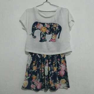Reprice! Baju Floral Dress plus Outer Crop