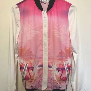 Brand News Sabo Skirt Flamingo Print Bomber Jacket
