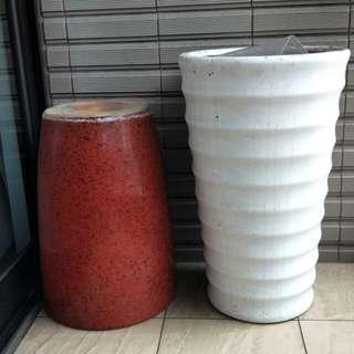大花盆(紅/白)各1個