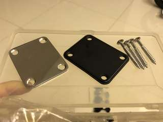 Neck plate and screws for both guitar and bass