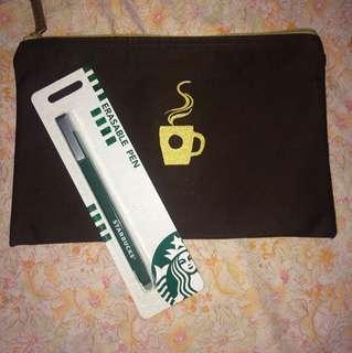 Starbucks pouch and erasable pen